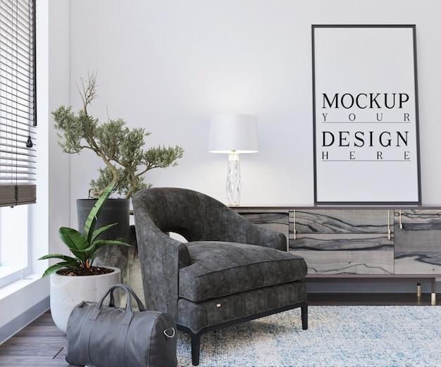 Modellplakat im modernen wohnzimmer mit sessel