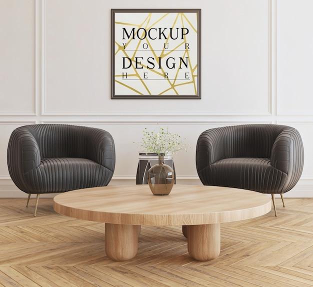 Modellplakat im modernen wohnzimmer mit sesseln