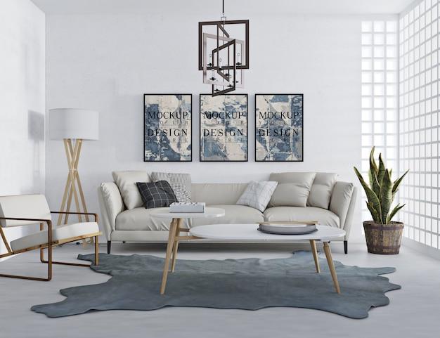 Modellplakat im modernen wohnzimmer mit sofa