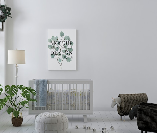 Modellplakat im weißen und einfachen babyzimmer