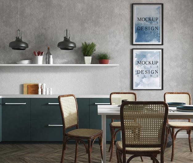 Modellplakat in der modernen küche mit elegantem design