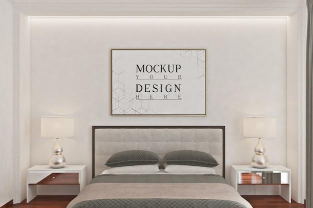 Modellplakatrahmen im modernen schlafzimmer