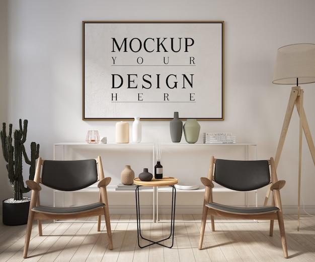 Modellplakatrahmen im modernen wohnzimmer mit sesseln