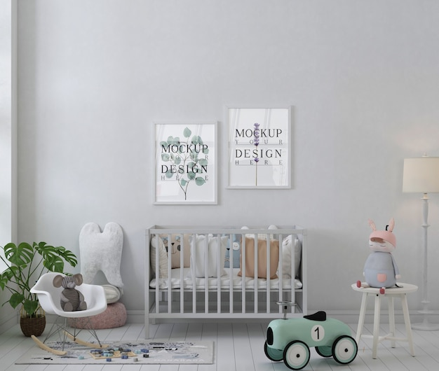 Modellplakatrahmen im weißen einfachen kinderzimmer
