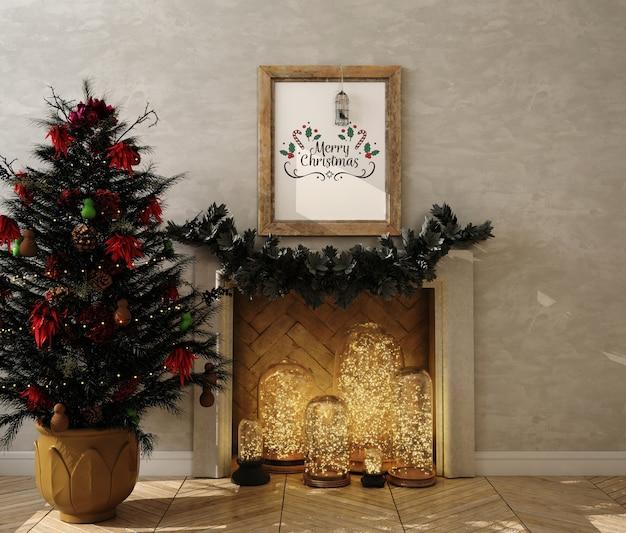 Modellplakatrahmen mit weihnachtsdekoration und weihnachtsbaum