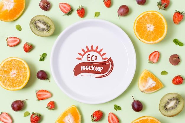 Modellplatte für gesunde lebensmittel mit zitrusfrüchten