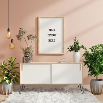 Modellrahmen auf schrank im wohnzimmerinnenraum, skandinavischer stil, 3d-darstellung