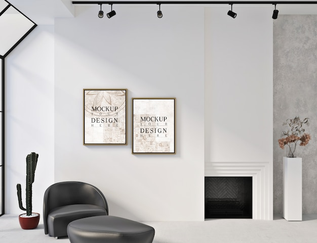 Modellrahmen in modernem weißem interieur mit sessel und ottomane