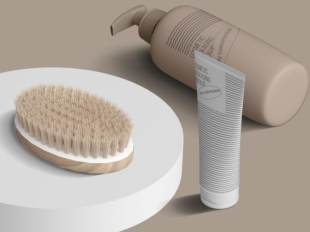 Modellschablone der isometrischen kosmetischen verpackung mit bürste auf podium