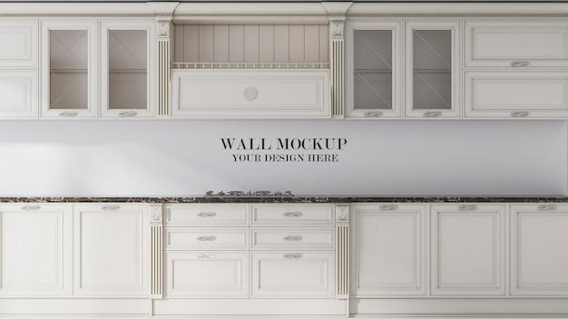 Modellwand zwischen küchenmöbeln