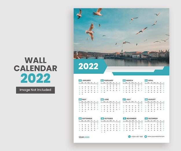 Moderne 2022 wandkalender design druckvorlage