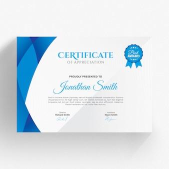 Moderne blaue zertifikatvorlage