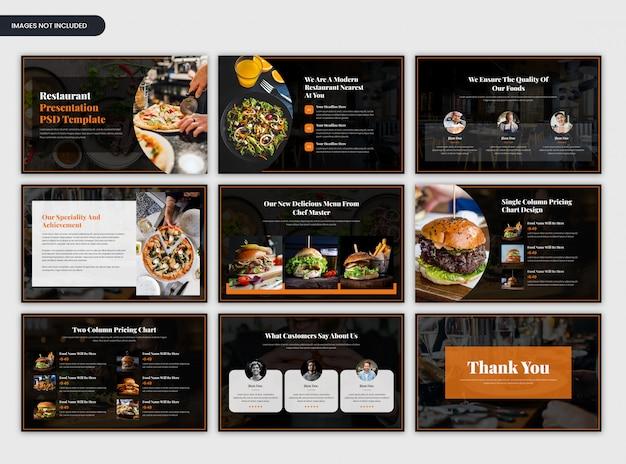 Moderne dunkle minimale restaurantdarstellungsschablone