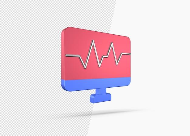 Moderne ekg-linie auf monitor mit renderkonzept