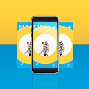 Moderne instagram-beitragsvorlage mit smartphone