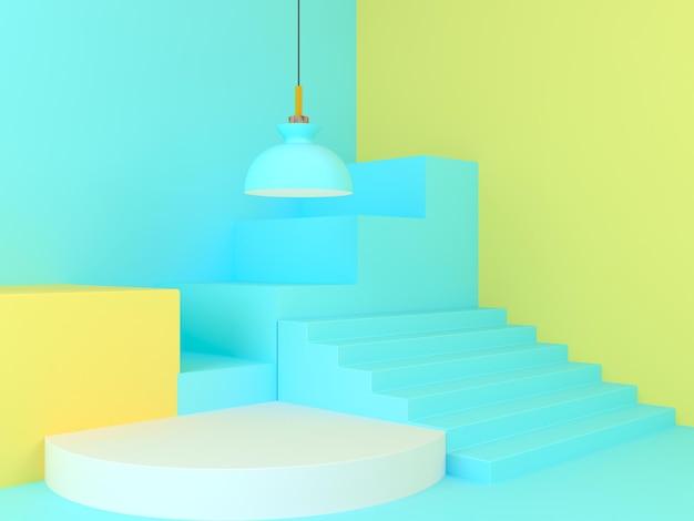 Moderne minimale bühnengeometrie 3d-render-podiumsanzeige