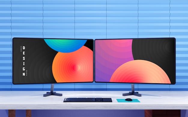 Moderne mockup-vorlagen für desktop-computer mit zwei monitoren