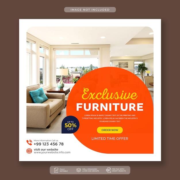 Moderne möbelverkaufs-social-media- und instagram-post-banner-vorlage