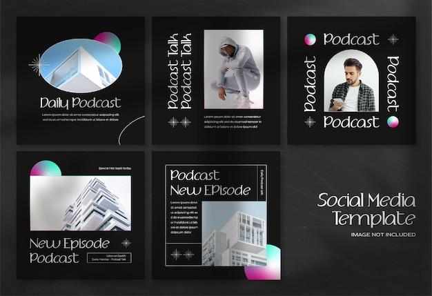 Moderne podcast-social-media-banner und instagram-post-vorlage