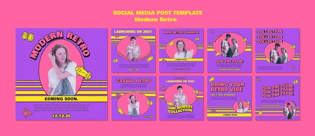 Moderne retro-social-media-beiträge