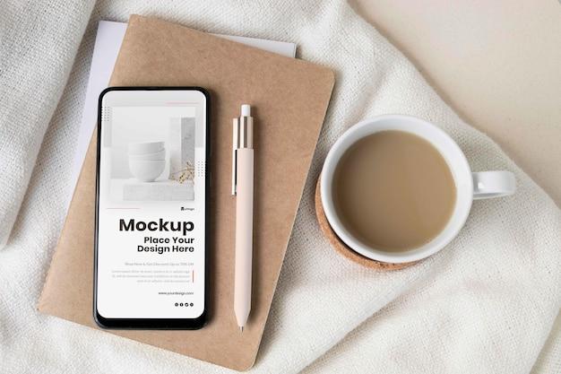 Moderne smartphone-mock-up-anordnung