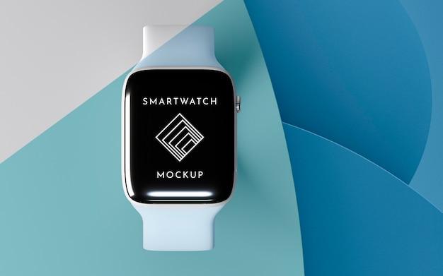 Moderne smartwatch von oben mit bildschirmmodelldarstellung