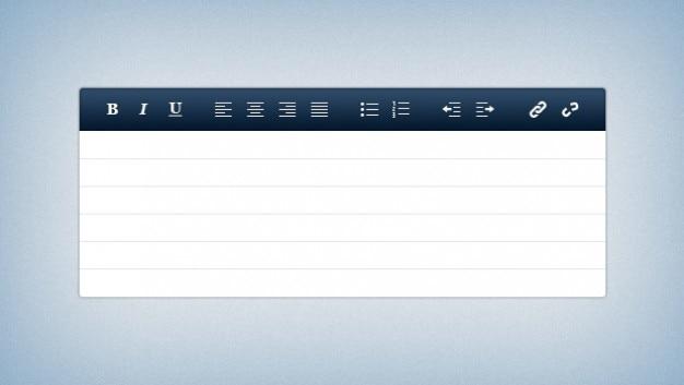 Moderne text-editor mit grundlegenden steuerelemente