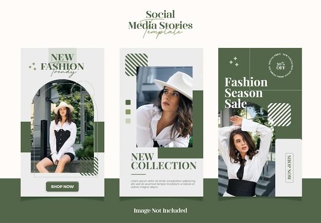 Moderne und elegante zusammenfassung für social-media-geschichten oder post-instagram-vorlagen für den modeverkauf