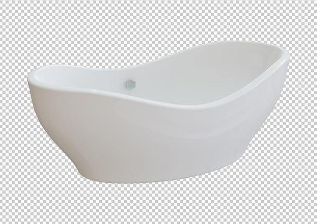 Moderne weiße keramikbadewanne isoliert auf weißem hintergrund. 3d-rendering