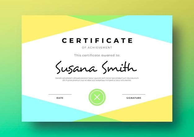 Moderne zertifikatsvorlage mit geometrischem und buntem rahmen