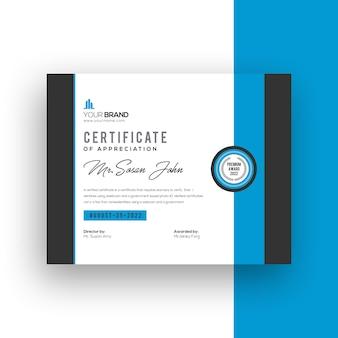 Moderne zertifikatvorlage mit farbverlauf des unternehmens blau