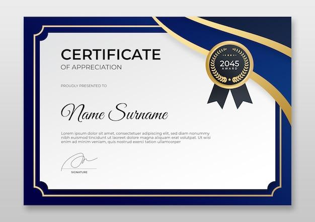 Moderne zertifikatvorlage mit farbverlauf luxuriöses goldenes abzeichen für leistungszertifikate