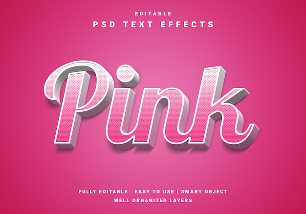 Moderner 3d pink text effekt