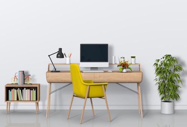 Moderner arbeitsplatz mit schreibtisch und computer