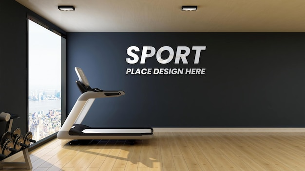 Moderner fitnessraum der wandmodell