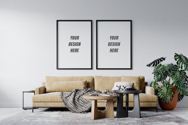 Moderner innenwohnzimmerrahmen und wandmodell