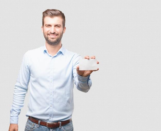 Moderner mann, der visitenkarte zeigt