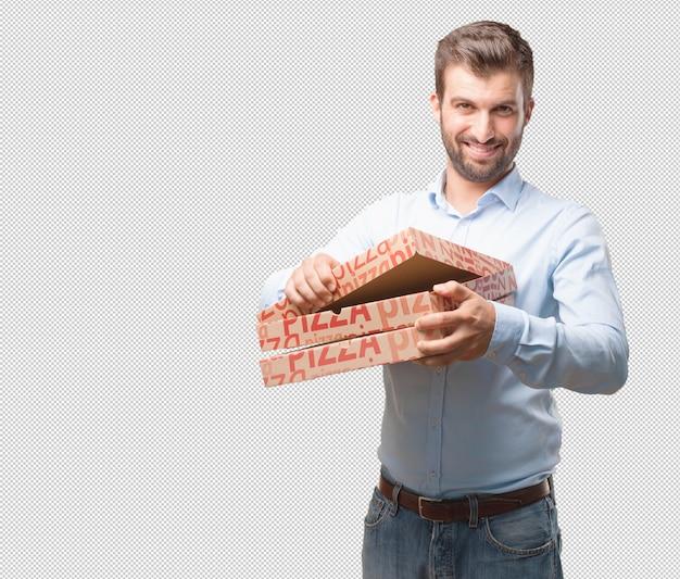 Moderner mann mit pizzakästen