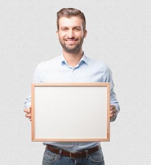 Moderner mann mit whiteboard