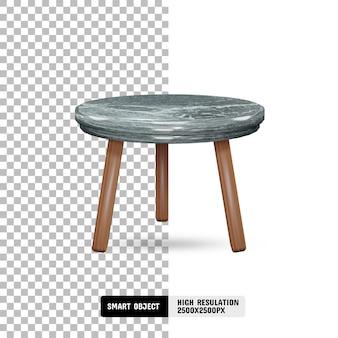 Moderner marmor- und holztisch auf transparentem hintergrund