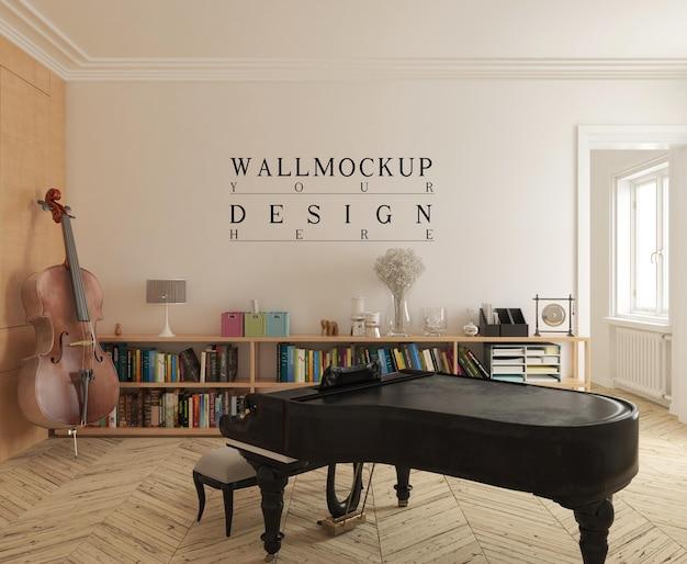 Moderner musikraum mit modellwand und klavier