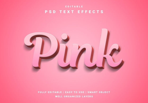 Moderner rosa-texteffekt des valentinsgrußes 3d