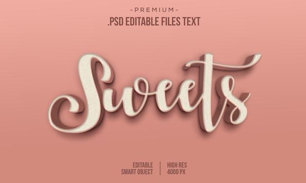Moderner süßer liebes-3d-farbverlauf mit fettem text, süßigkeiten abstrakter 3d-stil-texteffekt, süßigkeiten-texteffekt mit ebenenstilen