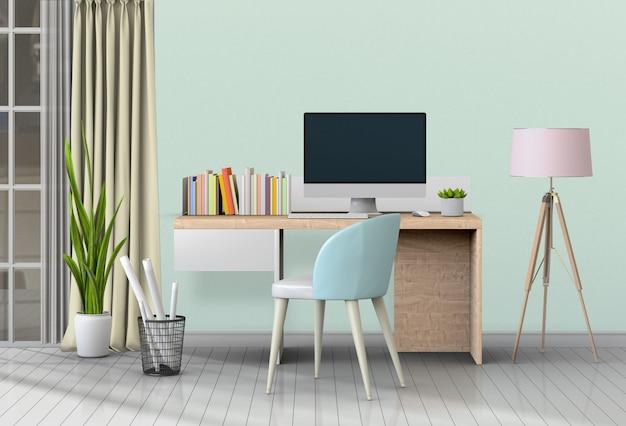 Moderner wohnzimmerarbeitsplatz mit schreibtisch und tischrechner