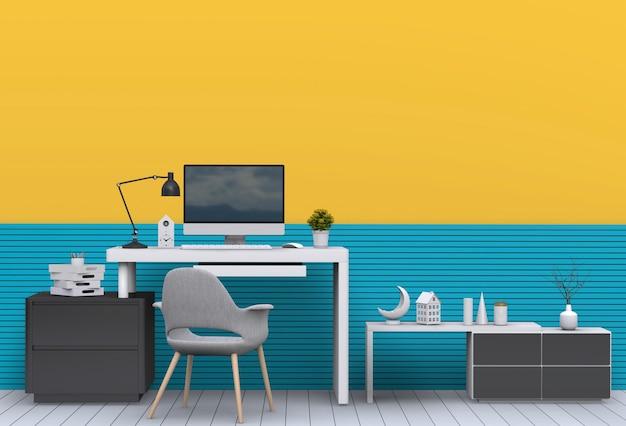 Moderner wohnzimmerinnenarbeitsplatz mit schreibtisch und tischrechner