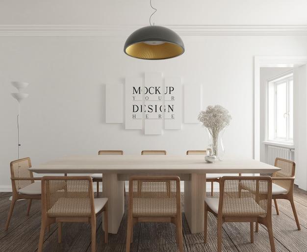 Moderner zeitgenössischer speisesaal mit plakatmodell