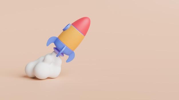 Modernes 3d-rendering für digitale raketen