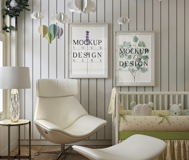 Modernes babyschlafzimmer mit modellrahmenfotos