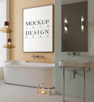 Modernes badezimmer mit mockup-design-plakatrahmen