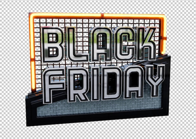 Modernes black friday-bannerdesign mit 3d-metallbuchstaben